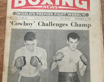 Vintage boxing newspaper 1959 - Rare sports memorabilia - Terry Downes