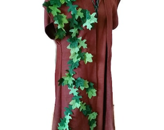 Brown, sleeveless robe with hand sewn leaves