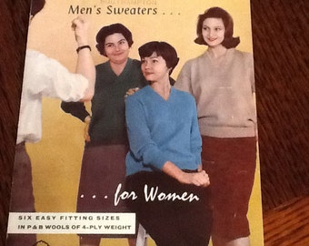 Vintage knitting pattern from P and B wools. Men's sweaters for women! 4 ply wool