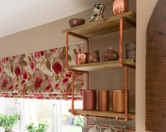 Shelving Unit, Shelf, Book Case, Unusual Book Case, Copper and Timber Wood Shelf, Kitchen Shelves, Study Shelf