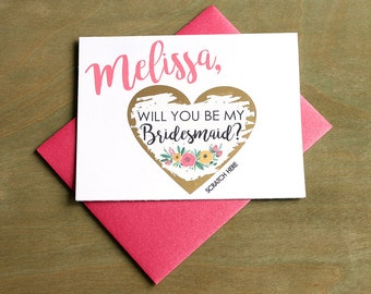 Bridesmaid Scratch Off Cards Set of 4 OR MORE Will you be my Bridesmaid Cards - Maid of Honor, Matron of Honor Ask Card w/ Metallic Envelope