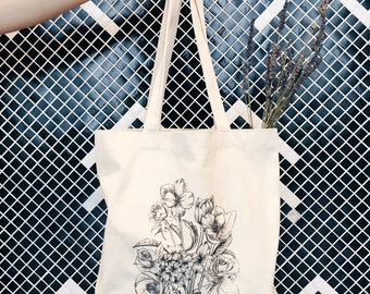 Sunday Bouquet Tote Bag; Eyes on Clouds Original; Floral Illustration