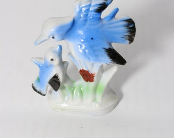 Bone China Blue Birds in a Branch Figurine Japan / Vintage  Hand Painted Gift For Mom