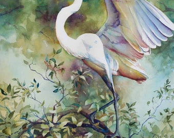 Great egret, white marsh bird, heron print of a watercolor painting