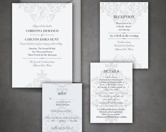 The Carlton - Elegant, Classic and Traditional Wedding Invitation Set with Decorative Pattern - DIY - Print at home Invitation Suite!