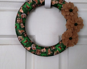 Golden Retriever Ribbon Wreath