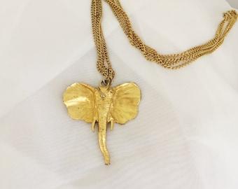Golden Elephant Head Pendant Necklace
