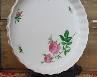 Vintage Floral Quiche Pie Plate, Rose Christineholm Fluted Tart Baking Pan, Hostess Gift, Bridal Shower, Baking Dish Plate Pan, Shabby Decor