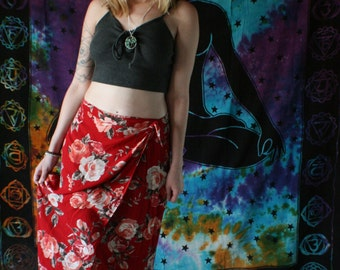 Red Floral Vintage Wrap Skirt (M)