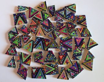 Ceramic Mosaic Tiles - Boho Tribal Triangles Bright Colors Lime Green Purple Blue Pink Orange - 42 Pieces - For Mosaic Art / Mixed Media Art