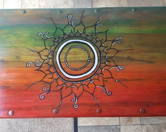Hand painted coffee table upcycled bohemian bispoke design
