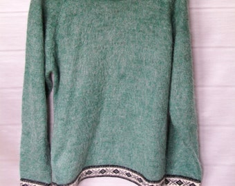 Vintage Wool and Mohair Sweater. Seafoam Green Sweater, Warm and Soft Sweater