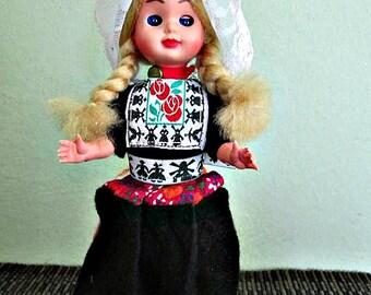 SALE! Vintage Dutch Doll In Holland Costume, Original Handmade Netherland, Volendam Doll, Costume Doll, Ethnic, Folklore Doll