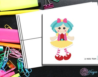Personalized lalaloopsey Doll thank you cards / Rag Doll Stationery Set / Custom lalaloopsey notes/ Set of 12 personal girl note cards