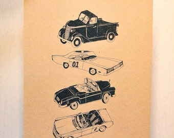 Vintage Cars Lithograph
