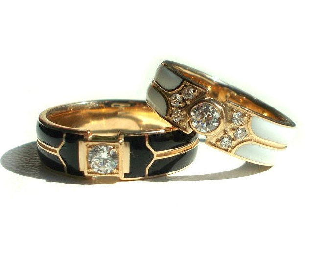 14k gold enamel wedding bands wedding bands with enamel