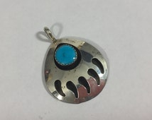 STERLING SOUTHWEST BEAR Paw Pendant, Polished Turquoise Bead accent, Native American jewelry, Sterling Silver