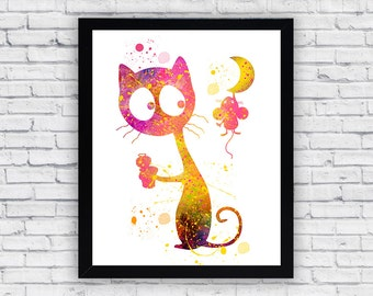 Cat and Mouse watercolor printable, Cat and Mouse Printable Wall Art, Cat and Mouse poster