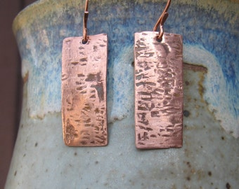 Copper hammered textured rectangle earrings