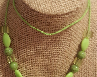 Undeniable style with this green beaded necklace with toggle clasp
