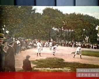 Postcard Baseball Grounds, Lincoln Park, Chicago, 1908. photochrom