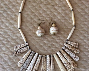 Vintage African mid century bone carved necklace and earring set