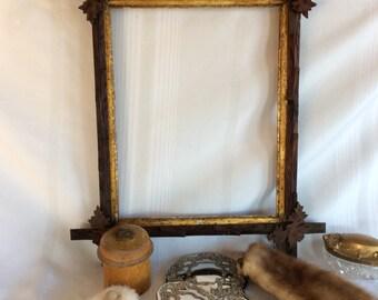 Antique primitive wood frame Tramp Art oak leaves corners added