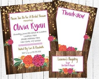 Rustic Bridal Shower Invitation Set Floral