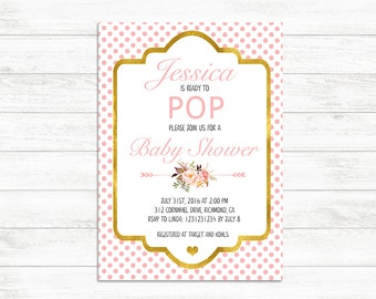 Baby Shower Ready to pop Invitation, Printable Baby Shower girl Invite, Pink Gold Baby Shower Invitation, Ready to pop invite, pink dots