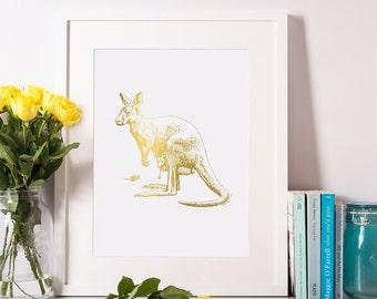 Gold Foil Kongaroo Print, Kangaroo Art, Kangaroo Decor, Animal Print, Australian Decor 8x10-A4