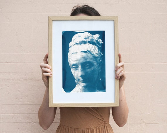 3d-Render of Victorian Female Portrait, Cyanotype Print on Watercolor Paper, A4 size