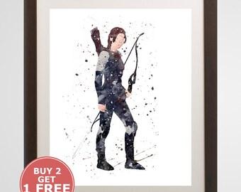 Katniss Everdeen Print, The Hunger Games watercolor, home arts, decor, cartoon kids children Illustration, Gift, Movie YC161