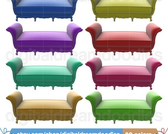 Victorian Couch Clipart, Sofa Clipart, Old Seat Clipart, Colorful Sofas Clipart, Decorative Two Seater Clipart, Instant Digital Download