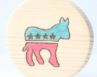 Baby Teether   Wood Teether   Wood Baby Toy   Democrat Teething Block   Wooden Donkey Toy   Baby Shower Gift   Nursery Decor   Campaign Mod