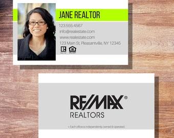 Modern Stripe Real Estate Business Card