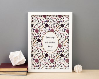 Encourage One Another Daily | A4 Hebrews Bible Print | Floral Scripture Print | Christian Gift