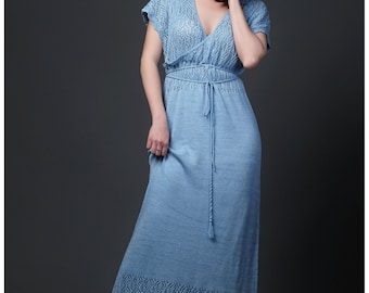 "Elegant feminine long dress for summer, knit dress, knitted dress, cotton dress, summer dress, maxi dress ""Lady in Sky Blue"""