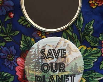 """Save Our Planet Magnet (3"""" Round)"""
