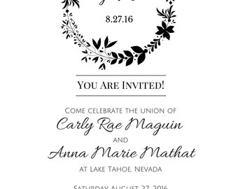 Simple Stamp-Style Wedding Invitations - Made to Order PDF Download