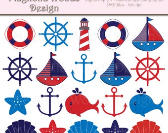 Nautical Clip Art, Red and Blue Nautical Clip Art, Sailboat Clip Art, Nautical Images, Beach Clip Art, Small Commercial Use Clip Art