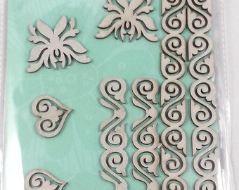10 chipboard 3D stickers for scrapbooking and card making or decorating, Rahmenn (ornaments)