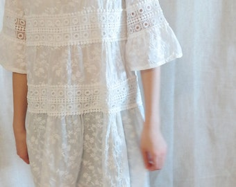 White Lace Embroidered Blouse/ White Half Sleeve / Comfortable Women Top/ Dress