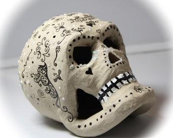 """Handmade """"Sandman"""" Day Of The Dead Skull, Paper Mache Sugar Skull, Dia De Los Muertos, Altar Skull, Memento Mori"""