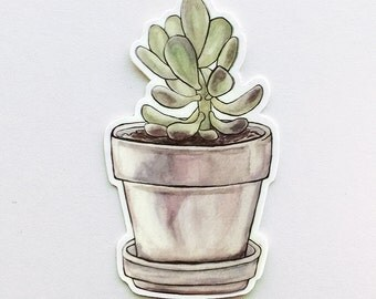 Succulent Vinyl Sticker - Watercolor Potted Plant