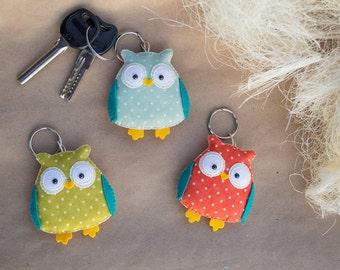 Owl keychain Cute keychains Owls gift stuffed owl Key fob Owl pendant