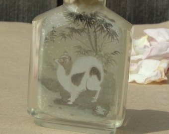 Antique Chinese Reverse Hand Painted Crystal Opium Bottle Vintage Chinese interior painted glass inside painting glass bottle Collectibles