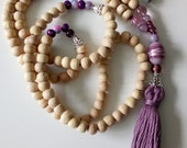 Modern Natural Wooden Beaded Necklace in Rose Colour and Handmade Tassel