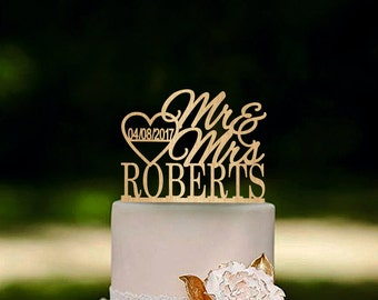 Wedding Cake Topper Last Name Mr Mrs Personalized Rustic Cake Topper Gold cake topper Silver cake topper
