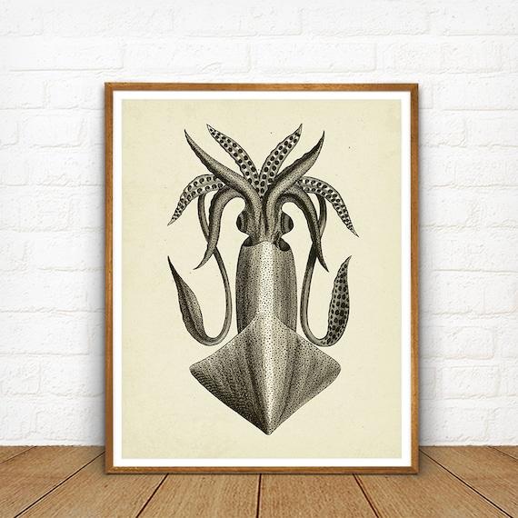 Vintage Kraken Illustration Kraken Printable Vinta...