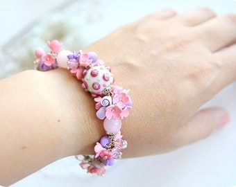 Rose quartz pink flower bracelet • Pastel floral bracelet • Cute gift for wife • Flower jewelry Wedding Bridal Bridesmaid Color of the year